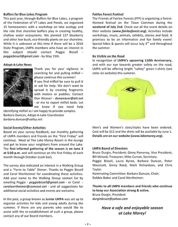 2016 Spring Newsletter – Lake Morey Protective Association